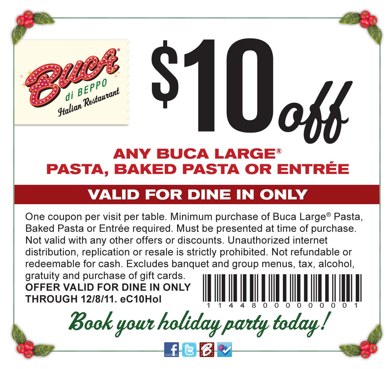 graphic about Buca Di Beppo Printable Coupons known as Buca birthday coupon : Panama town wyndham vacation resort